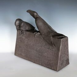 "Black stoneware, unglazed, water etched inscriptions 11.5"" wide x 10.5"" high x 7"" deep $1275 For more information: 340-777-3060 mangotango3000@gmail.com"